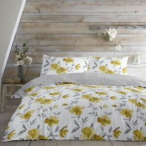 Dreams & Drapes CELESTINE Duvet Cover Set Floral Bedding Ochre Yellow Easy Care