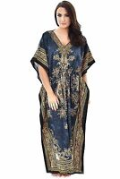 New Kaftan~Boho Hippy Plus Size Women Dress~Beach Cover Up~Maxi Gown Floral Grey