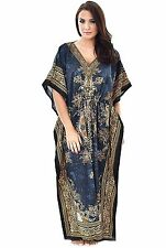 New Kaftan~Boho Hippy Plus Size Women Dress~Beach Cover Up~Maxi Gown Floral Grey