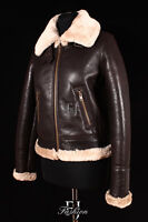 B3 BOMBER BROWN Ladies New Winter Real Sheepskin Leather Flying Jacket
