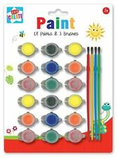 Create White 18 Paints and 3 Brush Set Painting Card Make Art Craft Drawing Kids