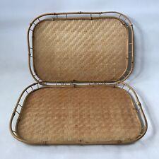 2 X Vintage Bamboo Serving Tray Basket Weave Rattan Woven Retro L48cmxW33cm