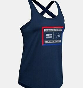 Women's Under Armour Freedom Lock Up Navy Tank Top Size Small  #1352146
