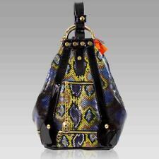 Marino Orlandi Designer Oversized Bucket Blue Python Leather Convertible Sling