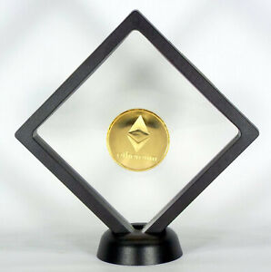 ✅ ETHEREUM COIN GOLD FLOATING COIN DISPLAY - COLLECTOR COMMEMORATIVE ROUND