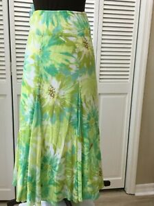 Ruby Road Summer Lined Green/Yellow Floral Maxi Skirt 16W