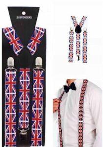 Union Jack Flag Skinhead Rangers UK Patriot Brexit Braces Fancy Dress England