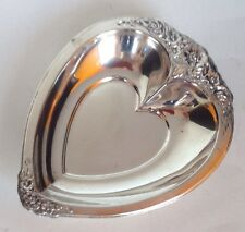 Laura Mist Heart Shaped Silverplate Small Tray. Gorgeous With Mbossed Roses. WOW