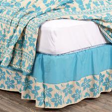 VHC Brands Bed Skirt King Queen Dust Ruffle Blue Sage Floral Print Split Corner