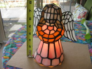 Tiffany Style Stained Glass Praying Angle Table Lamp Night Light