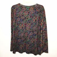 Lauren Ralph Lauren Womens 2X Paisley Long Sleeve Shirt Top
