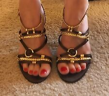 Bebe NEW with box heels sandals shoes brown gold $139.00 SIZE 7