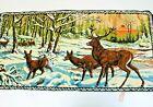 Vintage P&C Italian Woven Velvet Deer  Tapestry Wall Hanging Size 38in x 19in