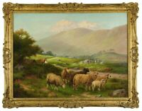 Large Antique Sheep 19thc.Landscape Oil Painting By Artist William Henry Mander