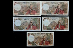 LOT DE 5 BILLETS 10 Francs Voltaire type 1963 Anne 1970 5 dates de création W589