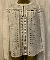 Karen Millen White Broderie Lace Geo Embroidery Long Sleeve Top Blouse UK 10 38