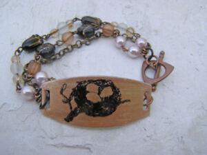 Bird Nest Egg Nature Inspired Multi Strand Flower Chain Bead Bracelet Artisan