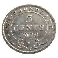 1908 Newfoundland Canada 5 Cents Small Silver Circulated Edward VII Coin Q084