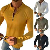 Men V Neck Zipper Long Sleeve T-Shirt Autumn Casual Plain Slim Fit Pullover Tops