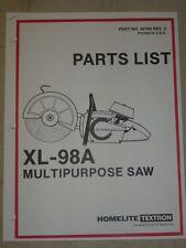 HOMELITE XL - 98 A MULTI-PURPOSE SAW PARTS MANUAL PART #24760 REV. 3