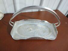 Vintage Continental Silver Wild Rose Brillantone Hammered Aluminum Basket 1072