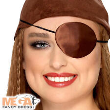 Deluxe Brown Pirate Eyepatch Adults Fancy Dress Caribbean Costume Accessory New