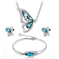 New Butterfly Jewelry Sets Necklace + Earring+Bracelet Crystal Set Fashion JS