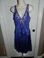 "Vintage JC PENNEY Fantasia #6103 Nylon Lace Camisole Blue 36 6104-25"" M skirt"