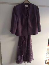 Jacques Vert Dress and Jacket. Size 16/18. Grey/Purple. Excellent Condition
