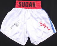 Sugar Ray Leonard Signed White Boxing Trunks Shorts - Beckett Witnessed COA