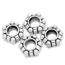 100pc Retro Silver Alloy Hexagon Shapes European Charms Beads Vintage Jewelery J