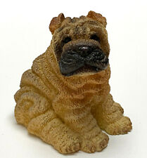 Shar Pei Dog Mini Figurine Statue HandPainted Resin Living Stone