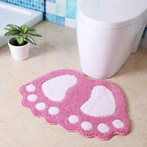 Microfiber Mini Mats Foot Print Bath Mats Non-Slip Bathroom Carpet Mat Toilet