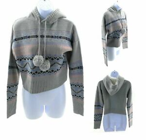 Rosie Harlow Crop Hooded Sweater Juniors Small Gray with Pink and Blue Pattern