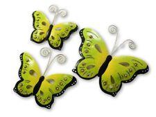 Butterfly Wall Art Ornament - Metal Butterflies Wall Hanging - Green - Set of 3