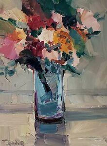 JOSE TRUJILLO Oil Painting IMPRESSIONISM STILL LIFE FLOWERS FLORAL ORIGINAL ART