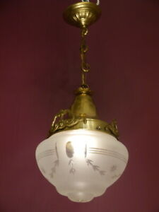 "SWEET ANTIQUE ART NOUVEAU SHINY BRASS LAMP SMALL CHANDELIER GLASS  Ø 8"""