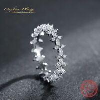 Damenring feiner Eternity Ring 925 Silber Gold plt mit Cubic Zirkonia AAA +