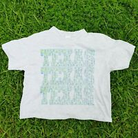 Vintage 80s 90s Crop T Shirt Adult XL Big Texas Spell Out Gray Single Stitch