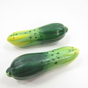 "Vintage Salt Pepper Shakers Set Japan Painted Cucumber Vegetable Green 4"" INV154"