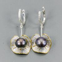 Pearl Earrings Silver 925 Sterling Handmade SET  /E38598