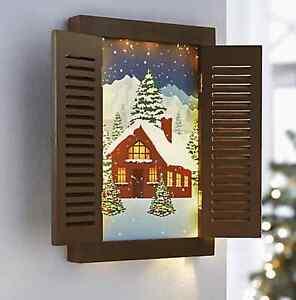 """Leuchtbild """"Winter"""" romantischem Wintermotiv Fensterläden  15 LED's Bild *NEU *"""