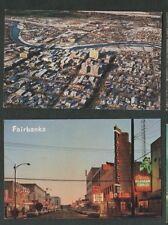 2 Vintage Postcards, Fairbanks, Alaska, 2nd Avenue & Business District