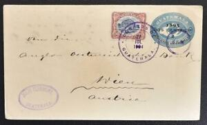 GUATEMALA to AUSTRIA 1904 Colon Theater on Prov Stationery Cover G-City to Wien