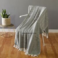 100% Cotton Fringed Lounge Sofa Bed Throw Rug Blanket 125 x 150 cm Indian Throws