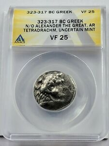 ANACS VF Alexander the Great AR Tetradrachm. 323-317 BC.Posthumous Issue of Tyre