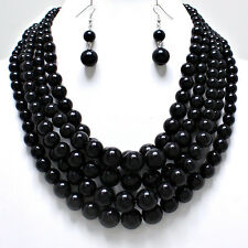 "18"" black pearl layered choker collar bib necklace statement boho chunky"