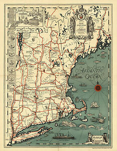 1928 Pictorial Map New England Historical Genealogy Family Wall Art Poster 11x14