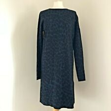 HOBBS Jumper Dress Size 14 Leopard Print Blue Long Sleeve