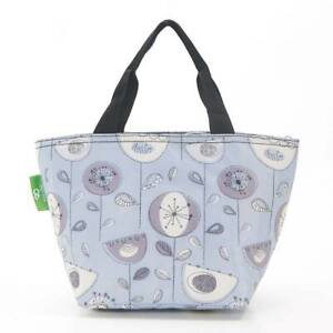 Blue 50's Flowers Print By Eco Chic Insulated Cool Lunch Bag